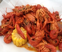 BB's Cafe, crawfish, corn on the cob, October 2012