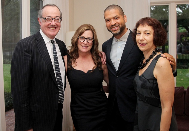 Paul and Carolyn Landen, from left, Jason Moran and Sarah Rothenberg at the Da Camera Jason Moran launch party September 2014
