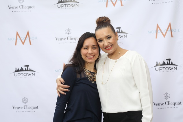 109 Ella Teodorescu, left, and Bianca Huma at the Uptown Blow Dry grand opening in Vintage Park March 2015