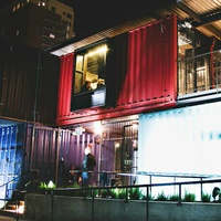 Container Bar Rainey Street exterior night