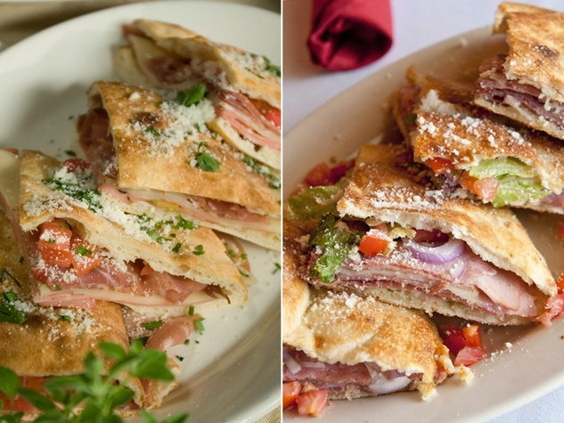 Russo's New York Pizzeria vs. Gina's Italian Kitchen Italian deli pizzotto comparison