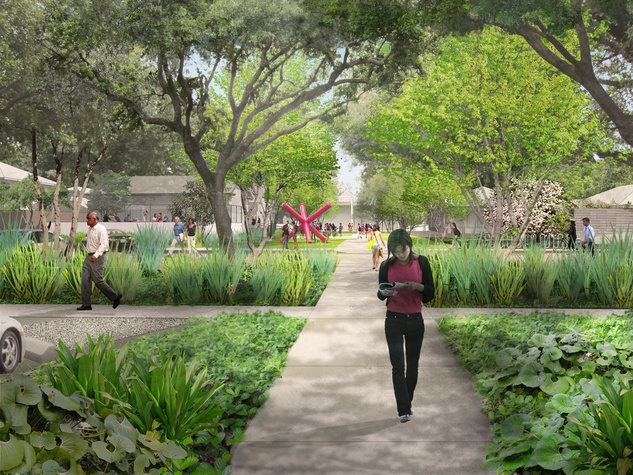1 The Menil Parking Lot and Cafe rendering October 2013 day