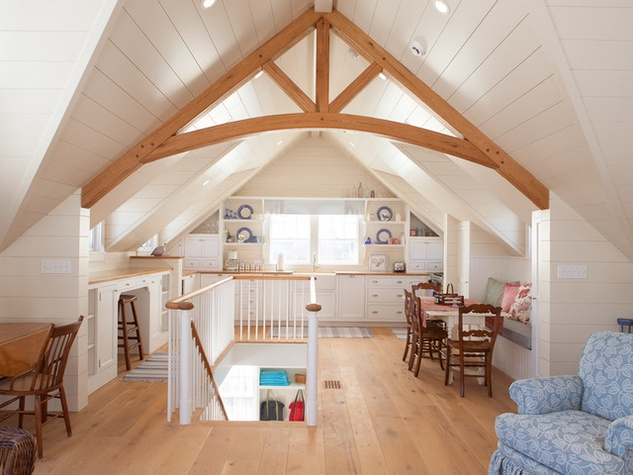 Shiplap accent in attic