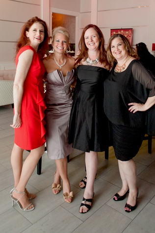 157 Ann Haugen, from left, Audrey Oliver, Host Amy McGee and Kelly Gartner at the Stages Repertory Theatre Soiree Marie October 2014