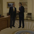 George W. Bush and Tony Blair in Mark Balma's portrait The Ties That Bind