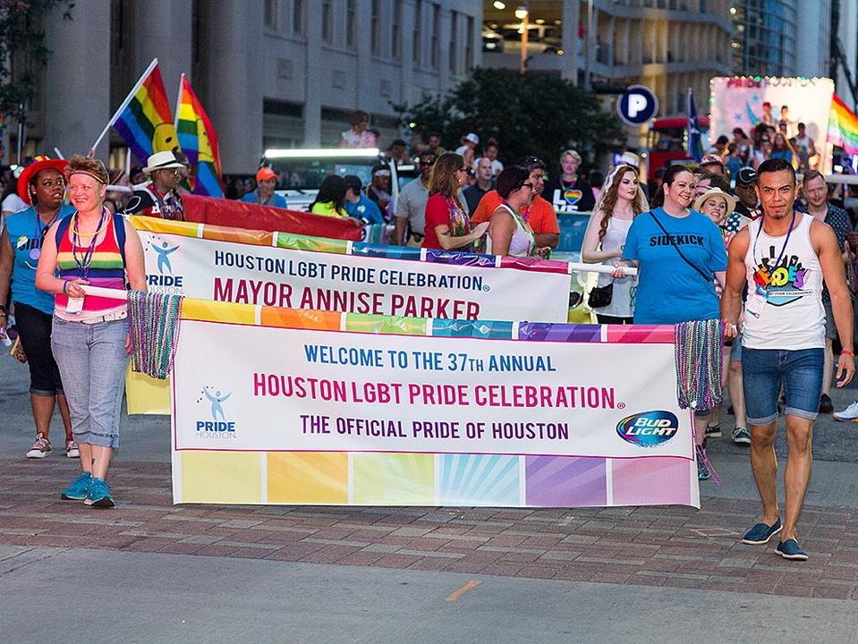 Houston Pride 2015 banner downtown