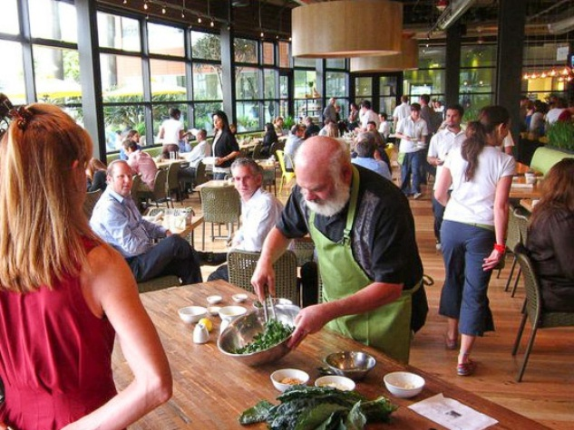 True Food Kitchen Santa Monica Dr. Andrew Weil preparing our famous Kale Salad