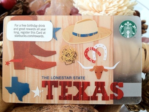 Get 'em while they're hot: Starbucks Texas-themed debit cards are ...