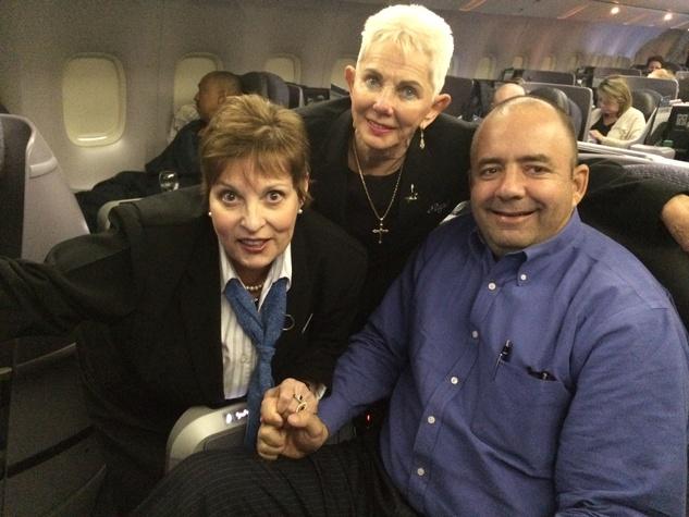 Leigh Skinner, Gaye McFarland, Jim Shelly on launch of United flight to Munich