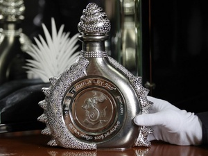 Diamond Sterling tequila, most expensive, with white glove