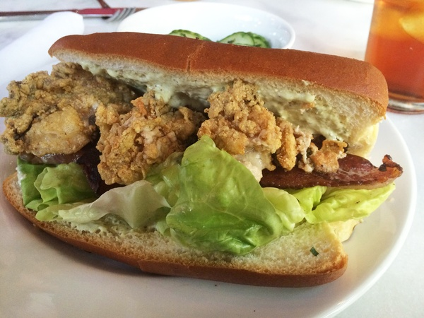 ... with crowd fried oyster sandwich with bacon and lettuce September 2014