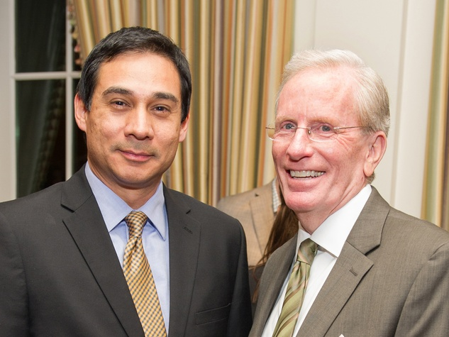 Alejandro Colom, left, and Joe Turner at the Preservation Houston Cornerstone Dinner February 2014
