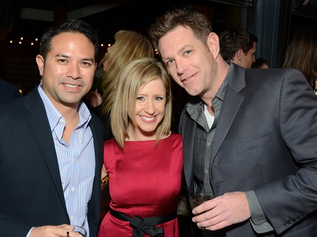 16 102 Ryan DeHoyos, from left, Margot Delaronde and Kevin Connolly at the American Heart Association Bachelor Party February 2014