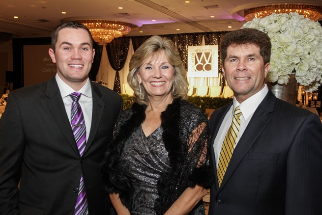 Matt and Cindy, left, with Allan Taylor at the Women's Chamber of Commerce Hall of Fame Gala December 2014