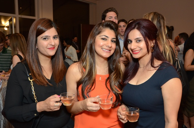 Sabah Ratani, from left, Afsheen Ali and Saba Valliani at the Rienzi Punch Party October 2014
