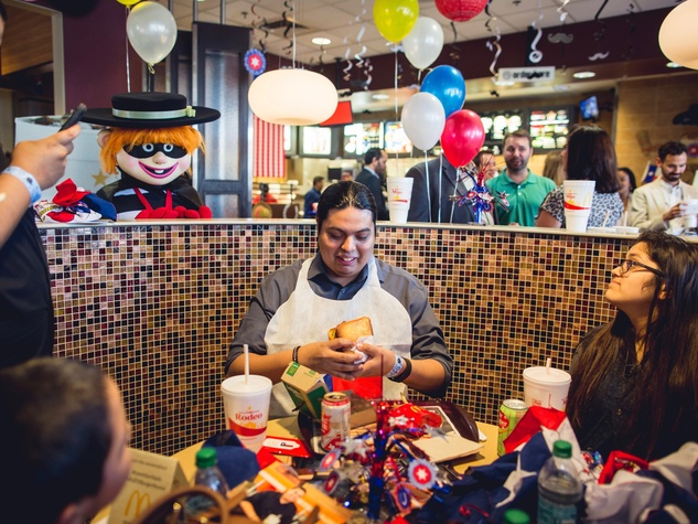 Joseph Pena winner of McDonald's contest with Lone Star Stack