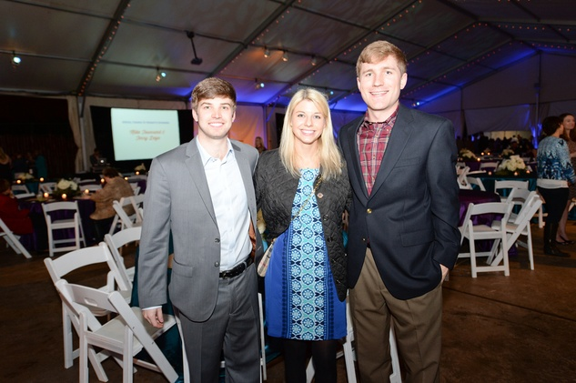 54 Barrett Bogatto, from left, Christina Berg and Matthew Mealey at the Houston Zoo Ambassadors Gala February 2015