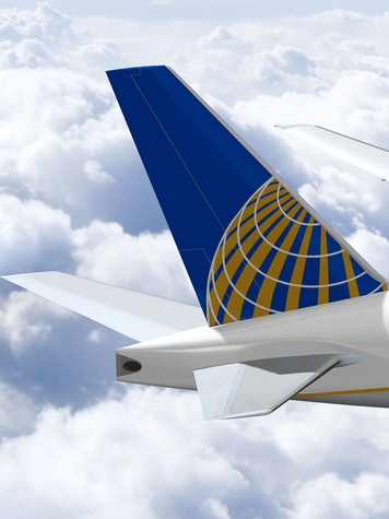 United Airlines, jet, airplane, tail, logo