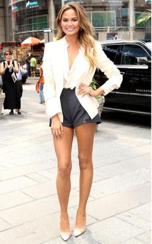 Chrissie Teigen in H&M conscious shorts