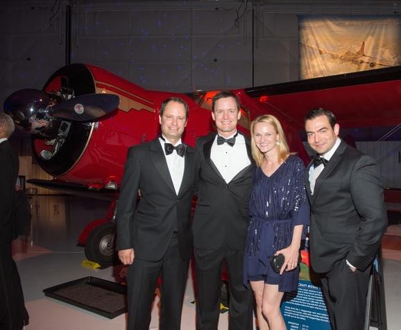 Lone Star Flight Museum gala 5/16 Rene Largo, Patrick Garvey, Morgan Garvey, Mark Schaverien.