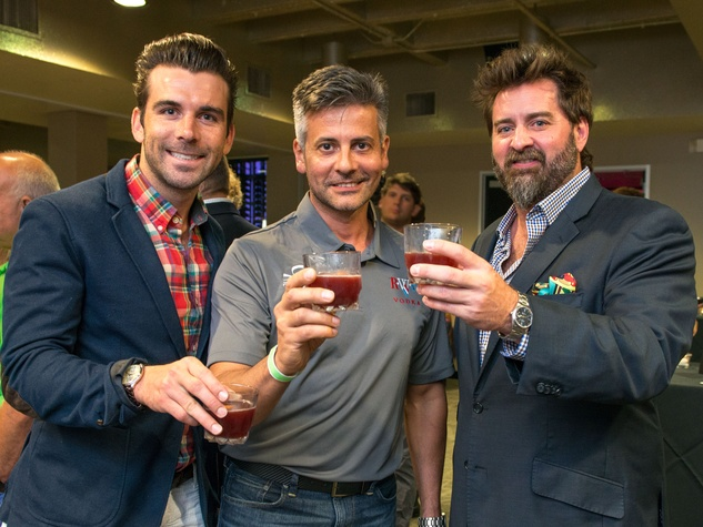 2 Mike Chabala, from left, Robert Federowicz and Tod Eason at the Crafted mixology contest at Mr. Peeples July 2014