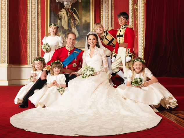 Royal wedding Prince William Kate Middleton with attendants