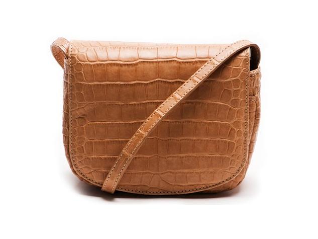 Alexandra Knight NFL Bag small disco bag (front) peanut matte alligator