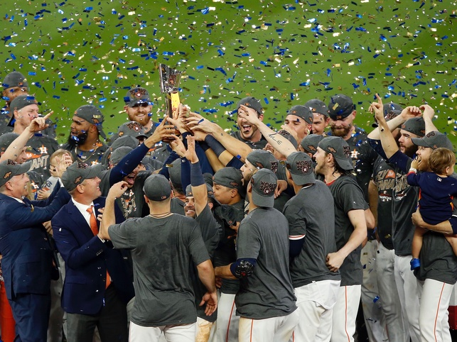 Houston Astros celebrate after defeating the New York Yankees in ALCS