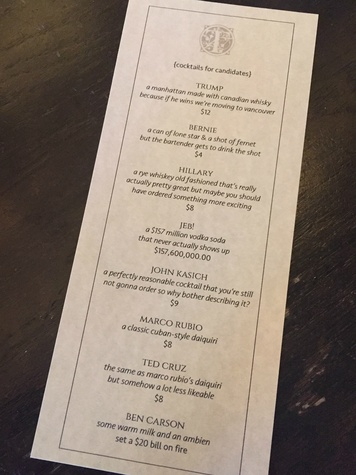 The Townsend bar Super Tuesday Paramount Theater debate themed cocktail menu 2016