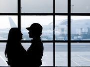 Meet at the Airport couple silhouette
