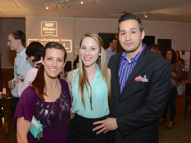 44 Robin Owens, from left, Nicole Elizabeth and Bobby Mireles at the CultureMap Social at Gremillion and Co. Fine Art March 2015