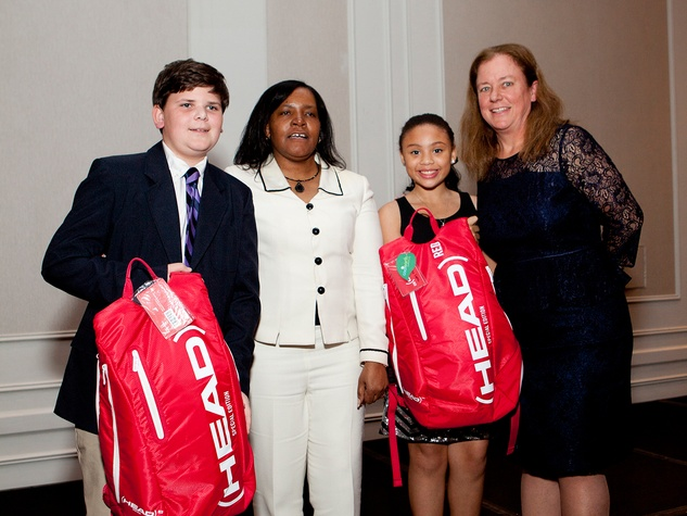Brady Brazda, from left, Vickie Jennings, Victoria Lopez and Emily Schaefer at the Houston Tennis Association Gala February 2014
