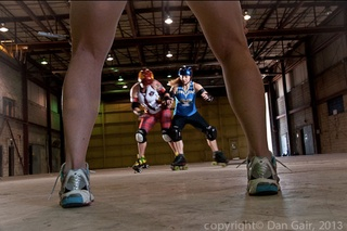 Texas rollergirls behind the scene legs