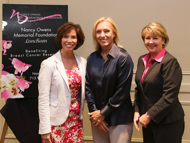 Rosanne Rogers, from left, Martina Navratilova and Cheri Fama at the Nancy Owens luncheon October 2013