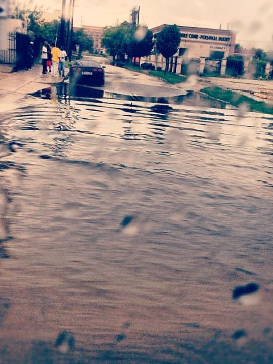 Houston, rain, flooding, street