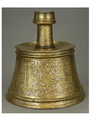 MFAH, Arts of Islamic Lands, al-Sabah Collection, November 2012, Brass candlestick inlaid with silver