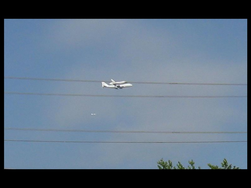 Space Shuttle Endeavor, flyover, telephone lines, September 2012
