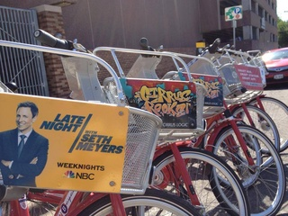 line of Austin B-cycle bikes for Austin Bike Share program with Late Night with Seth Meyers ad