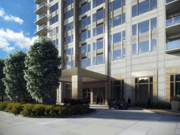 Belfiore luxury condominium Gallery area rendering entrance