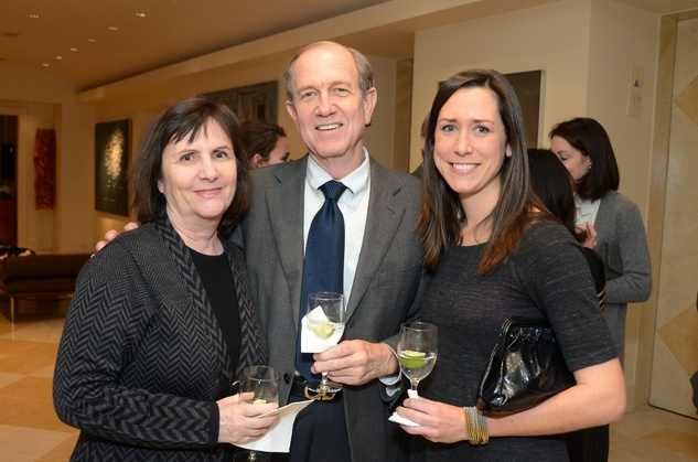 Leslie and Brad Bucher, from left, with Emily Klim at the MFAH Contemporary party January 2014