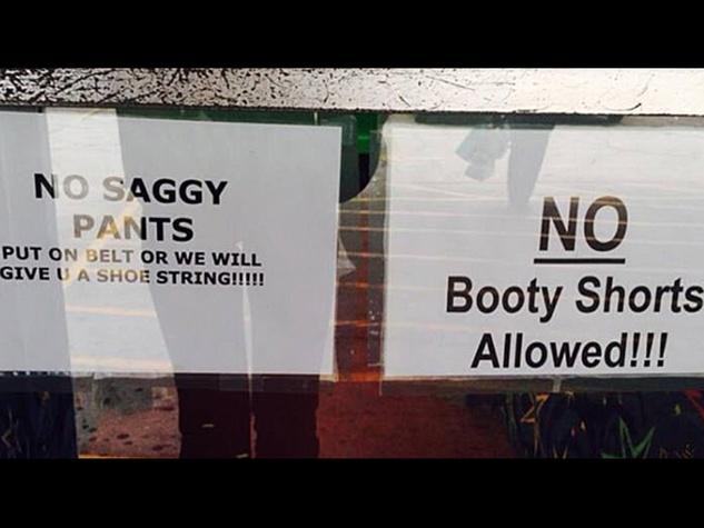 Humble roller rink no saggy pants no booty shorts sign January 2014