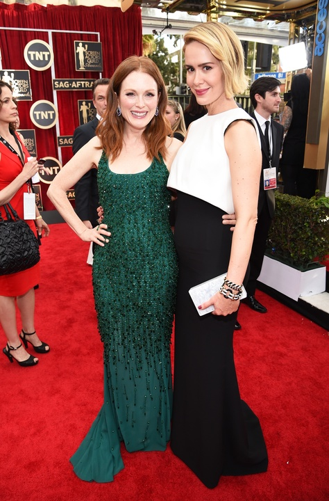 Julianne Moore and Sarah Paulson at Screen Actors Guild Awards