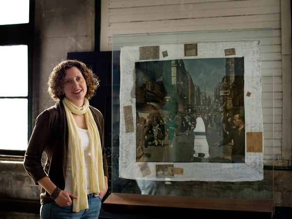 Nancy, Blood Memory, October 2012, Lisa Rosowsky stands in front of Paris/Vel d&#39;Hiv, a two-sided quilt, in her studio