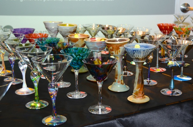 3 Artisan martini glasses at the Craft Museum Martini Madness party January 2015