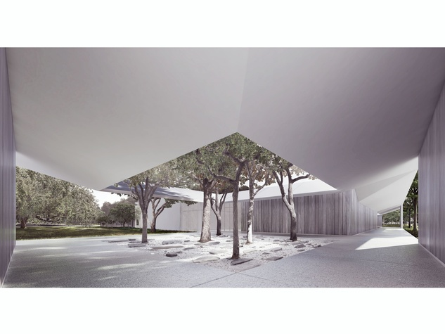 4. The west courtyard of the Menil Drawing Institute