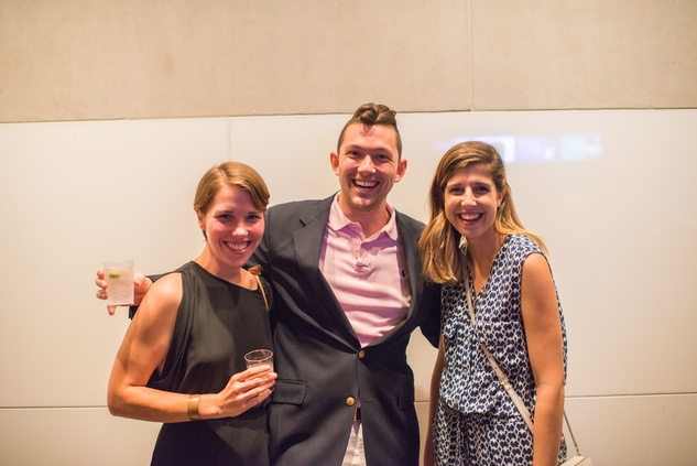 12 Kathryn McDougal, from left, David Dickson and Ariel Farshchi at the MFAH Art Crowd party September 2014