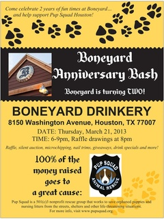 Boneyard Anniversary Bash benefiting Pup Squad