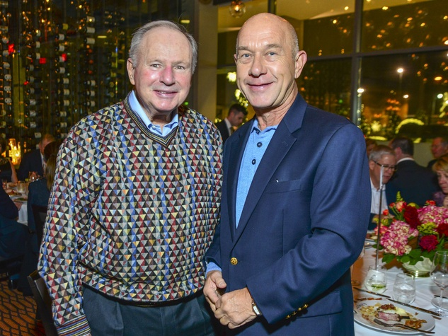 13 Don Sanders, left, and John Whitmire at Vallone's opening party November 2013