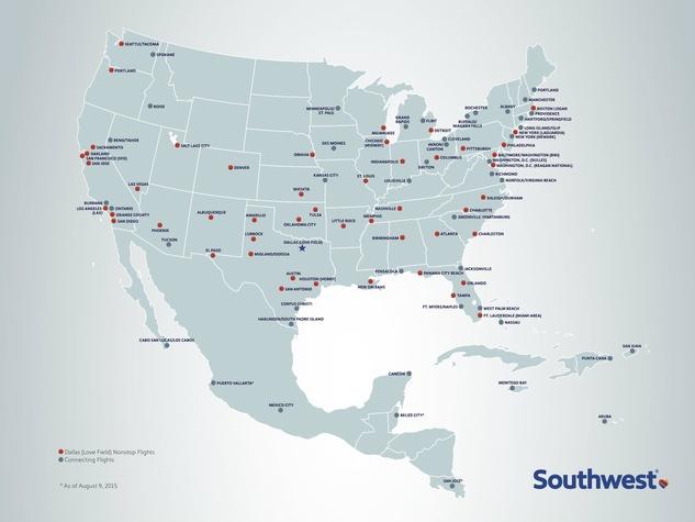 Southwest Non Stops Dallas Love Field