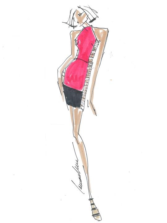Fashion Week spring summer 2014 Carmen Marc Valvo sketch